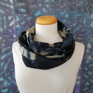 Distorted Film, Black, Taupe, Teal Discharged Arashi Shibori Scarf
