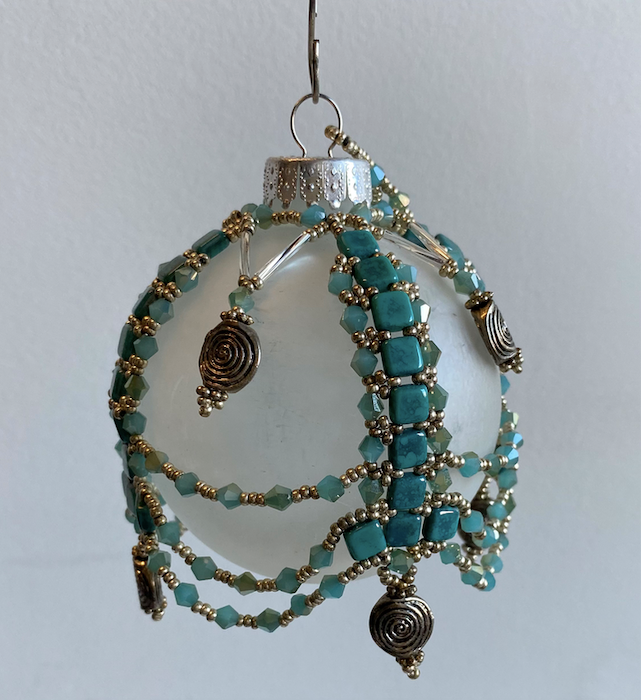Frosted Ornament with Aqua Beading