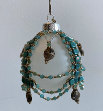 Load image into Gallery viewer, Frosted Ornament with Aqua Beading
