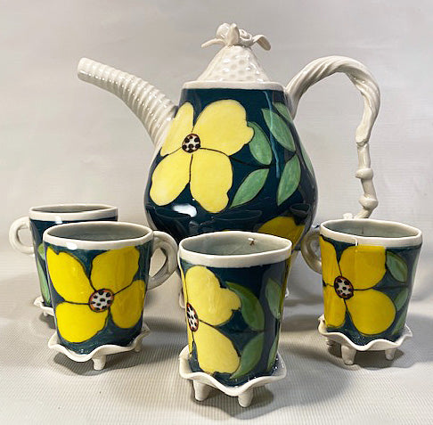 Green Floral Tea Set