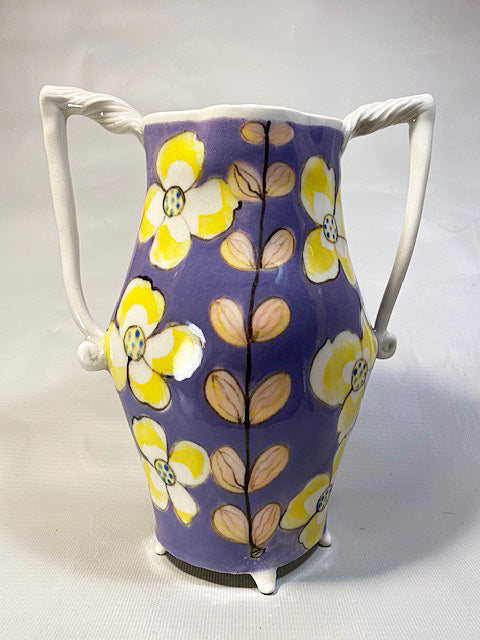 Lavender Pink and Yellow Floral Vase