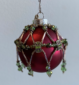 Red Ornament with Green Beading