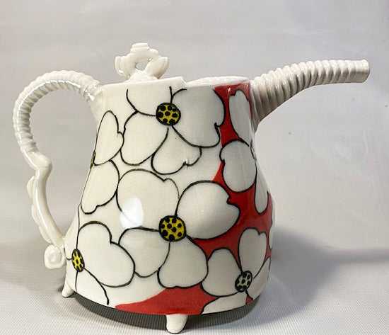 Red and White Teapot
