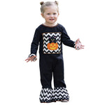 AnnLoren Baby Girls Black & White Halloween Kitten