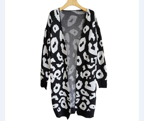 Long Sleeve Leopard Print Knitted Cardigan Sweater