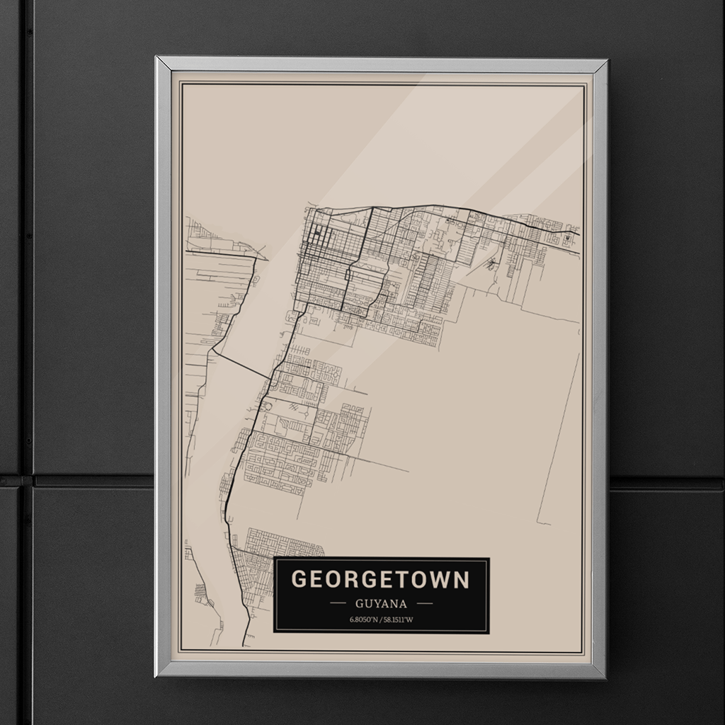 Georgetown - Guyana Map Print