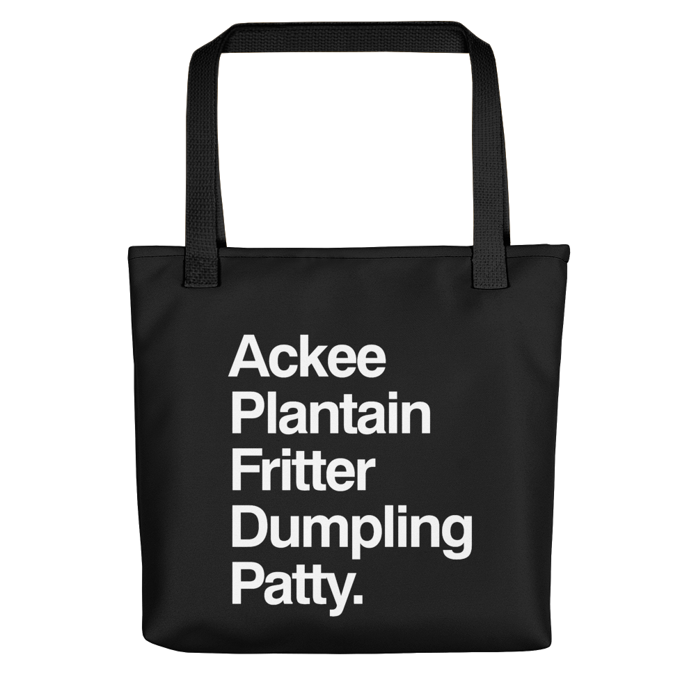 Jamaican Food List Tote bag