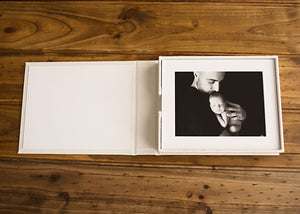 Bec Gordon Photography. Printed Products. Mini Layflat Album. 5 matted prints.