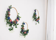 Load image into Gallery viewer, 3 Floral Hoops - Blue, Pink & Purple.