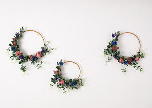 3 Floral Hoops - Blue, Pink & Purple.