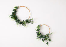 Load image into Gallery viewer, 2 Floral Hoops (small & Large) - greenery & white.