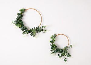 2 Floral Hoops (small & Large) - greenery & white.