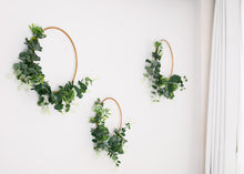 Load image into Gallery viewer, 3 Floral Hoops - greenery & white.