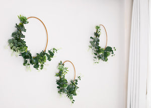 3 Floral Hoops - greenery & white.