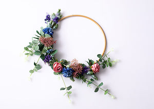 Large Floral Hoop - Blue, Pink & Purple.