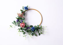 Load image into Gallery viewer, Small Floral Hoop - Blue, Pink & Purple.