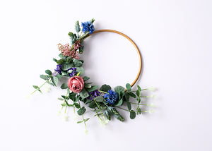Small Floral Hoop - Blue, Pink & Purple.
