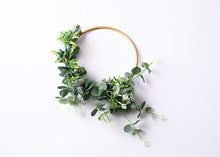 "Load image into Gallery viewer, Small Floral Hoop (10"") - greenery & White."