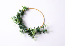 "Load image into Gallery viewer, Large Floral Hoop (12"") - greenery & White."