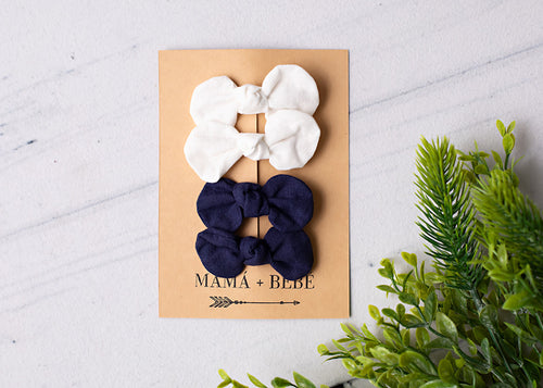 White & Navy Bow Clips.