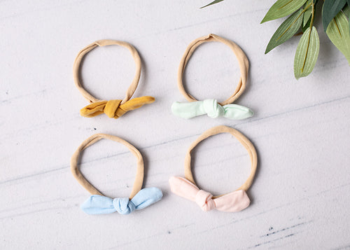 Small linen bow headbands.