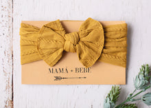 Load image into Gallery viewer, Mustard stretch bow headband