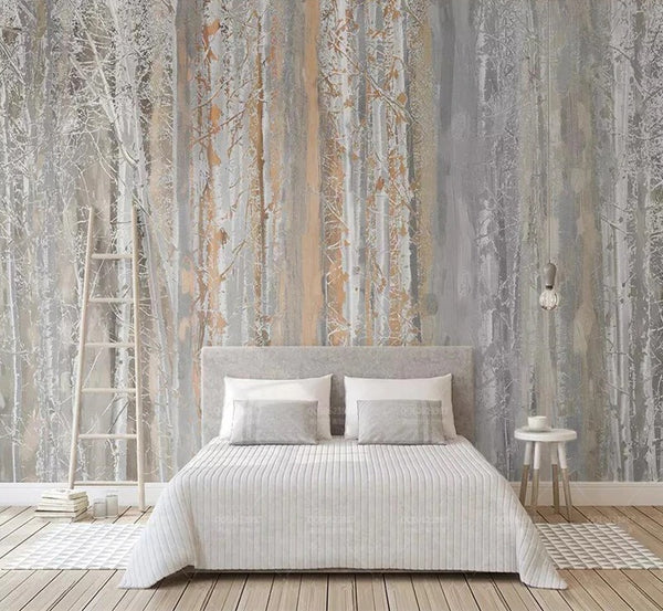 Abstract Nordic Forest Wall Mural