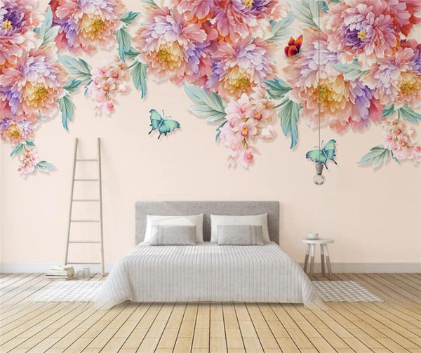 Butterflies and Summer Delicate Flowers Wall Mural