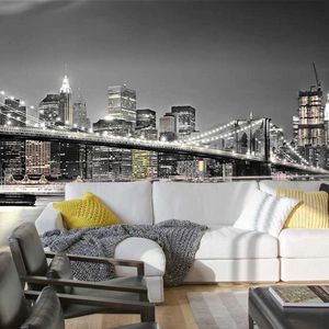 Brooklyn Bridge Night Photo Mural Wallpaper (SqM)
