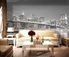 Load image into Gallery viewer, Brooklyn Bridge Night Photo Mural Wallpaper (SqM)