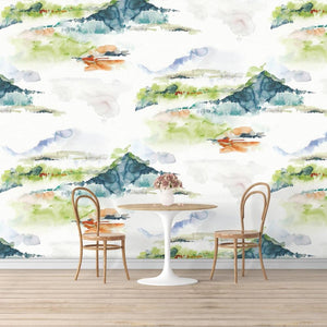 Colorful Mountains Mural Wallpaper (SqM)