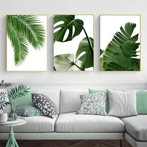 Green Monstera Leaves Canvas Print