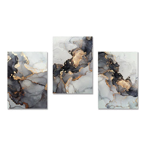 Golden Grey Abstract Canvas Print