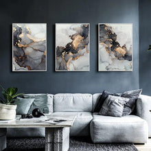 Load image into Gallery viewer, Golden Grey Abstract Canvas Print