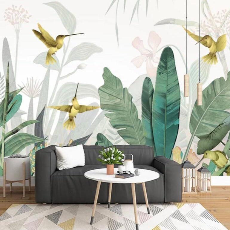 Banana Leaves & Humming Birds Mural Wallpaper (SqM)