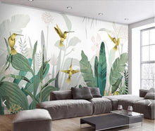 Load image into Gallery viewer, Banana Leaves & Humming Birds Mural Wallpaper (SqM)