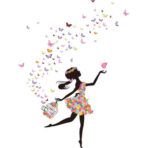 Fairy Butterflies Girl Wall Decal