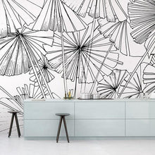 Load image into Gallery viewer, Black and White Umbrella Sketch Mural Wallpaper (SqM)