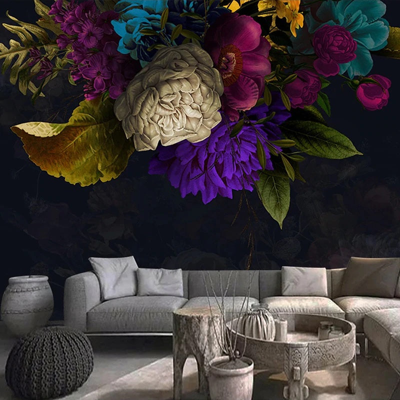 Colorful Floral Dark Mural Wallpaper (SqM)