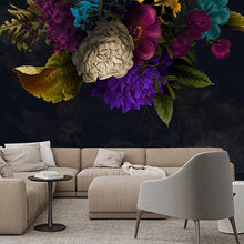 Load image into Gallery viewer, Colorful Floral Dark Mural Wallpaper (SqM)