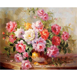 DIY Paint By Numbers - Beautiful Bouquet of Roses Painting Canvas