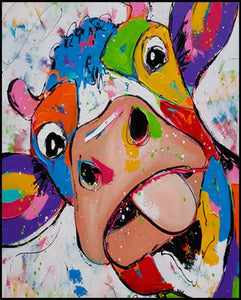 DIY Paint By Numbers - Colorful Cow Painting Canvas
