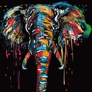 DIY Paint By Numbers - Colorful Elephant Painting Canvas