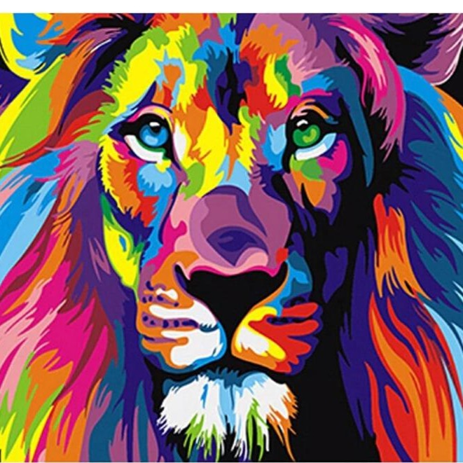 DIY Paint By Numbers - Colorful Lion Painting Canvas