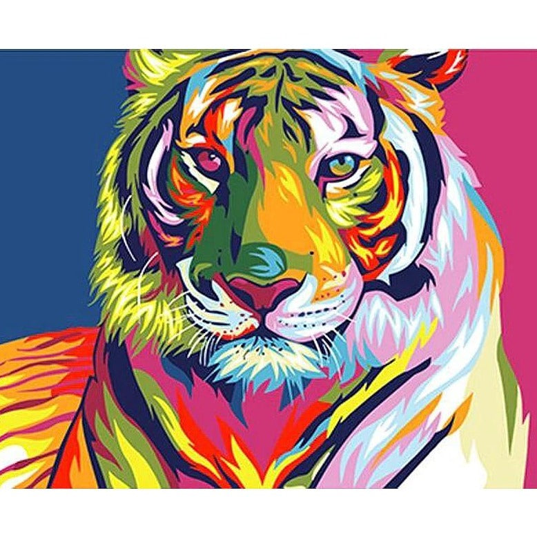 DIY Paint By Numbers - Colorful Tiger Painting Canvas