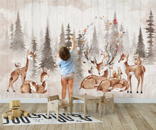 Load image into Gallery viewer, Elks Friendly Forest Mural Wallpaper  (SqM)