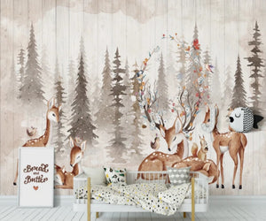 Elks Friendly Forest Mural Wallpaper  (SqM)