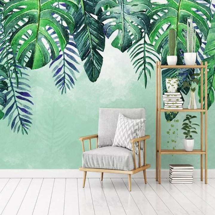 Falling Rainforest Leaves Mural Wallpaper (SqM)