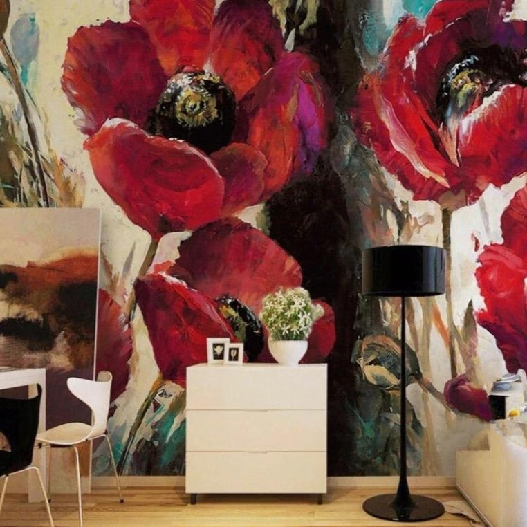 Giant Red Poppies Wall Mural (SqM)