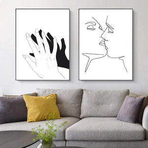 The Kiss Line Touch Canvas Print